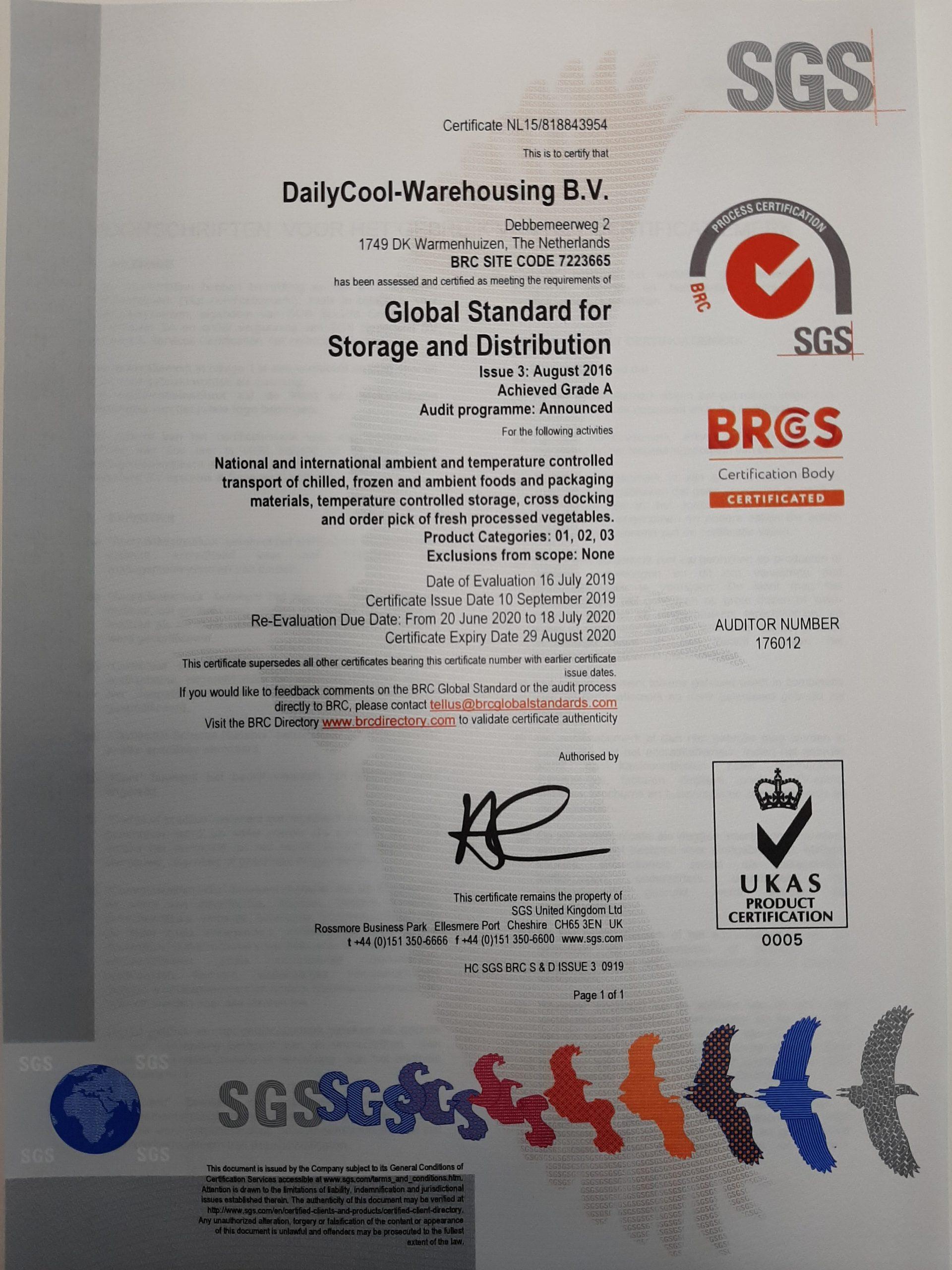 BRC Certificering Dailycool
